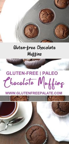 Scrumptious Gluten-Free Chocolate Muffins that are are also dairy-free, grain-free, and refined sugar-free making them Paleo friendly. Gluten Free Blueberry Muffins, Almond Flour Muffins, Healthy Muffins, Blue Berry Muffins, Paleo Chocolate Chips, Gluten Free Chocolate, Grain Free, Dairy Free, Double Chocolate Muffins