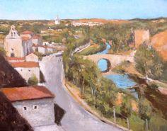 Cuadro al oleo de un paisaje de El Burgo de Osma en la provincia de Soria. Se trata de un cuadro de estilo Impresionista del paisaje del lugar