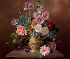 Harold Clayton ( 1896 -  1979) ,Roses, Hollyhocks and Poppies in an Ornamental Jug