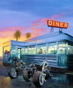 Bikers Hangin' at the Diner