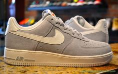 """lobo cinzento"" Nike Air Force 1 Low Cinza / Branco 488298-607 Masculino venda de chuteiras"