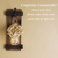 Rustic Mason Jar Wall Sconce  Home Decor, Lighted Sconce