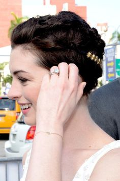 Anne Hathaway's Pixie Updo--cute idea to change up a pixie cut or dress it up