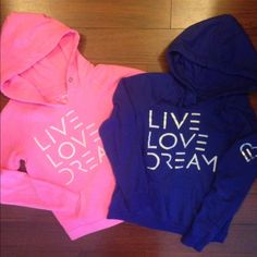 2 hoodies Live Love Dream. Nice  2 hoodies Live Love Dream. Pink one is a medium and has no strings around hood and blueish/purplish one is a large. Aeropostale Tops Sweatshirts & Hoodies