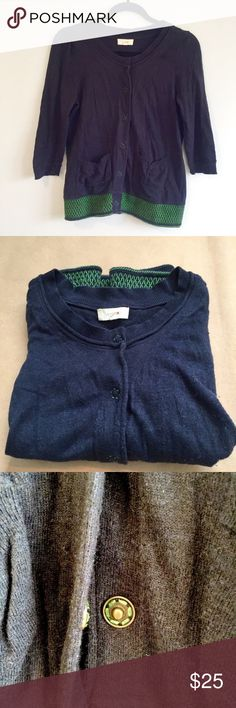 "Navy Cardigan with Green Embroidered Detail Adorable marled navy fabric (specs of gray, white, red) cardigan with a gorgeous green embroidered hem border. Has 2 small pockets in the front. Snap button enclosure (comes with extra thread and button). Sleeves 17"" Bust 17"" Length 23"" Anthropologie Sweaters Cardigans"