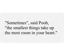 The smallest things take up the most room in your heart- Winnie the Pooh