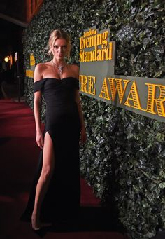British model Lily Donaldson in a Burberry dress on the red carpet of the 2016 Evening Standard Theatre Awards