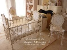 Pink baby bed, sweet nursery - French dollhouse 1/12th scale miniature furniture. €59.00, via Etsy.