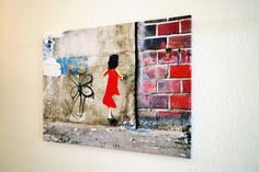 Girl Red Dress 80x60x2 cm Urbane Kunst, Street Art, Red, Painting, Dresses, Dress Red, Wall Prints, Canvas, Gowns