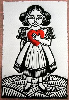 """Hand carved linoleum cut, beautiful fabriano paper with deckled edge, red foil heart. Red """"Dresden"""" foil heart is slightly dimensional."""