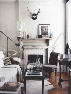 white brick with wood mantle