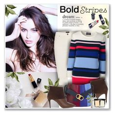 """""""Bold Stripes"""" by sneky ❤ liked on Polyvore featuring Barbour, Lands' End, Pierre Hardy, Tory Burch, Bobbi Brown Cosmetics and BoldStripes"""