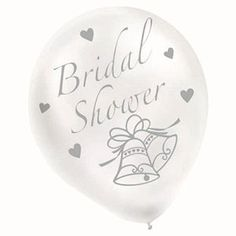 12 inch round white balloons with silver printed design. Hen Party Balloons, Bridal Shower Balloons, White Bridal Shower, Hens Party Supplies, Wedding Supplies, Hens Night Decorations, White Balloons, White P, Shower Ideas