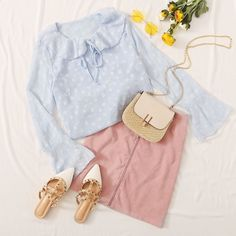 To find out about the Tie Neck Ruffle Trim Flounce Sleeve Blouse at SHEIN, part of our latest Blouses ready to shop online today! Cute Comfy Outfits, Classy Outfits, Pretty Outfits, Casual Outfits, Korean Fashion Dress, Korean Outfits, Cute Fashion, Fashion Outfits, Pop Fashion