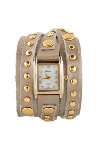 Times Square Wraparound Beige Leather Watch