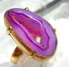 Neon lavender druzy geode ring