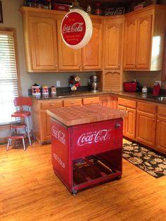 coke decor. got this sitting on my 'coke house' porch!