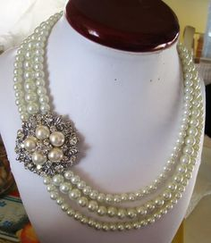 Bridal Necklace Pearly Necklace wedding Necklace  by IreneJewelry, $56.00