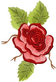 Red rose free machine embroidery design