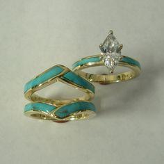 14 karat gold the engagement ring and band. http://www.southwestoriginals.com/store/wedding-engagement-rings