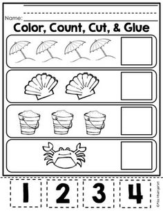 Summer Packet On My Way to Kindergarten! by Miss Kindergarten Love Beach Theme Preschool, Preschool Worksheets, Preschool Learning, Classroom Activities, Numbers Preschool, Teaching, Printable Worksheets, Ocean Themes, Beach Themes