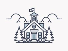 School house illustration. #graphicart #minimaldrawings