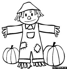 fall scarecrow and pumpkins coloring page