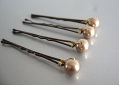 Bronze Swarovski Pearl Bobby Pins by GoumareJewelry on Etsy, €4.00