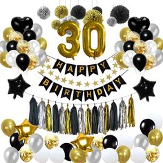 Black And Gold Party Decorations, Black And Gold Theme, Balloon Decorations Party, Birthday Party Decorations, Black Gold, Decoration Party, Paper Decorations, Party Themes, Happy Birthday Parties