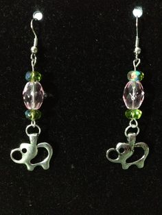 Pink and Green Elephant Earrings by queenofqeeks on Etsy, $8.00