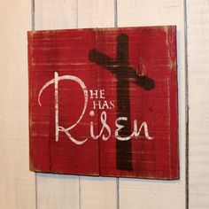 Pallet Sign - He Has Risen - Hand Painted Reclaimed Pallet Wood Sign - Easter Decor, Easter Sign, Spring Sign by EverydayCreationsJen on Etsy https://www.etsy.com/listing/222075416/pallet-sign-he-has-risen-hand-painted