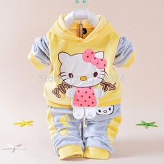 2017 New Spring/Autumn Baby Set Velvet Hello Kitty Cartoon Print Hoodie+ Pant Twinset Long Sleeve Velour Baby Clothing Sets Hello Kitty Outfit, Hello Kitty Clothes, Hello Kitty Cartoon, Hello Kitty Baby, Baby Cartoon, Winter Baby Boy, Winter Kids, 2016 Winter, Baby Set