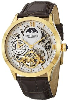 Stuhrling Original Men's Automatic Silvertone Skeleton Dial Bronw Leather Style: 571.3335K2 WorldofWatches.com