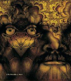 Interfractal de una composición del rostro del escritor de ciencia-ficción Philip K. Dick