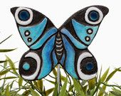 butterfly garden art - plant stake - garden decor - butterfly ornament  - ceramic butterfly - peacock - turquoise