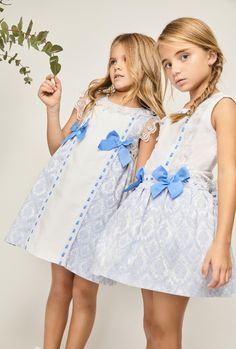 Spring/Summer 2019 Girls Dresses and Outfits. Baby Blue with bows. An Idea for an Easter Dress? Sizes 0-10yrs