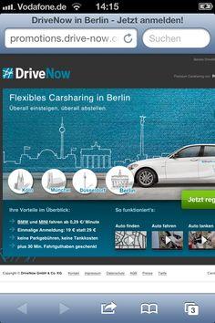 ★ CTA 1 ★ Der Nutzer wird zu DriveNow weitergeleitet um sich bei dem Carsharing-Service zu registrieren.