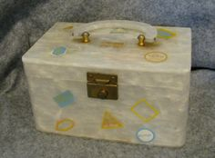 VTg Pearlized Lucite Box Purse with Painted Travel Stickers and Full Mirror in Lid Pan Am Mad Men RARE