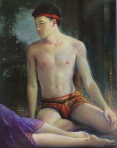 """Details of """"Khun Phaen, having cast a spell to unlock the door of Kaew Kiriya's bedroom, and contemplating her beauty"""", oil on canvas, 1989-1990, by a Thai national artist Chakrabhand Posayakrit"""