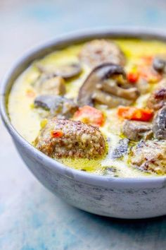 Easy delicious and under 40 minutes - this one pot creamy meatball soup recipe is a low carb hearty and warming family favorite dinner! Creamy meatball soup that is great for dinner parties a winter dinner or meal prep for busy weekday lunches that Keto Foods, Ketogenic Recipes, Low Carb Recipes, Healthy Recipes, Ketogenic Diet, Easy Recipes, Ketogenic Breakfast, Diet Breakfast, Diet Soup Recipes