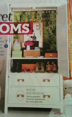 Ikea Hemnes wardrobe with greek key pulls.