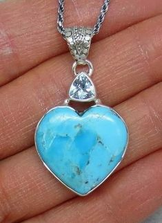 Genuine Sleeping Beauty Turquoise and Sky Blue Topaz Heart Necklace - Sterling Silver - 172653 #SterlingSilverNecklace #SilverJewelry