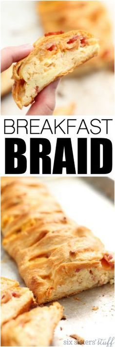 Breakfast Braid Recipe from SixSistersStuff.com | This super simple breakfast recipe is flaky crescent dough filled with eggs, bacon and a touch of delicious pico de gallo. The perfect dish for your Christmas morning!