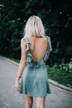 low back ruffle dress