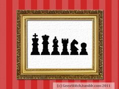 GeexStitch Shop: Chess Pieces Silhouettes Cross Stitch Pattern PDF