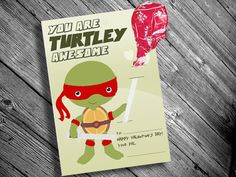 Printable Ninja Turtle Inspired Valentine Cards for Kids with Lollipop Inserts