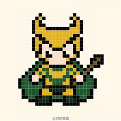 Loki Perler Bead Pattern - could be used for cross-stitch too.