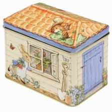 Peter Rabbit shed tin box with removeable lid. Store away those trinkets or a whimical lolly tin. Unisex present for both baby or adult! Beatrix Potter, Rabbit Shed, Another Perfect Day, Childrens Shop, Tin Shed, Peter Rabbit And Friends, Peter Rabbit Party, Tin House, Money Box