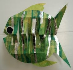 Collage Pop-Out Fish, tissue paper collage with strips of aluminum foil, 3-D paper technique
