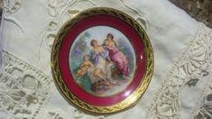 Miniature Art Porcelain Plate Limoges France Signed Mythologic Angel Grace Painting Reproduction #sophieladydeparis